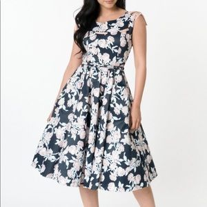 Unique Vintage Navy and Peach Floral Marlo Dress